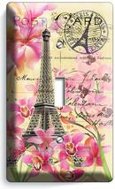RETRO EIFFEL TOWER FLOWERS PARIS LOVE POST CARD 1 GANG LIGHT SWITCH PLAT... - $9.99