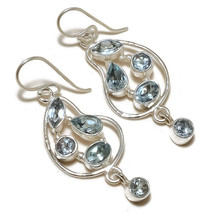 Swiss Blue Topaz Mix Shape Gemstone 925 Silver Overlay Handmade Dangle E... - $9.99