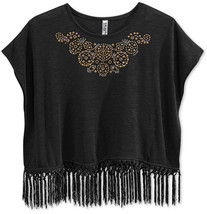 Beautees Girls' Fringe-Hem Top, Black, Size XL - $16.82