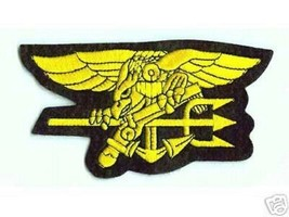 """US NAVY USN SEALS SEAL TEAM GOLD TRIDENT EMBROIDERED 6.5"""" BADGE PATCH - $23.74"""