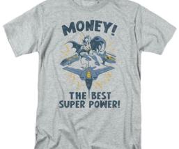 Batman Money T-shirt SuperFriends retro 80's cartoon DC grey graphic tee DCO638 image 2