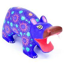 Handmade Oaxacan Copal Wood Carving Painted Folk Art Hippopotamus Hippo Figure image 4