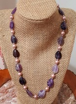 Vintage silver plated purple stone and faux pink pearl necklace - $12.00