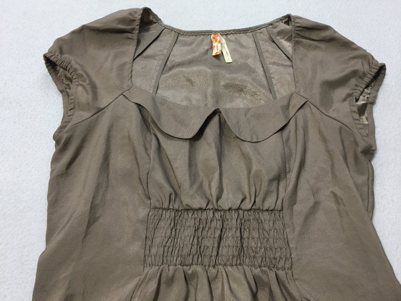 Maeve Anthropologie 8 Tan Peter Pan Collar Smocked Elastic Pocket Dress