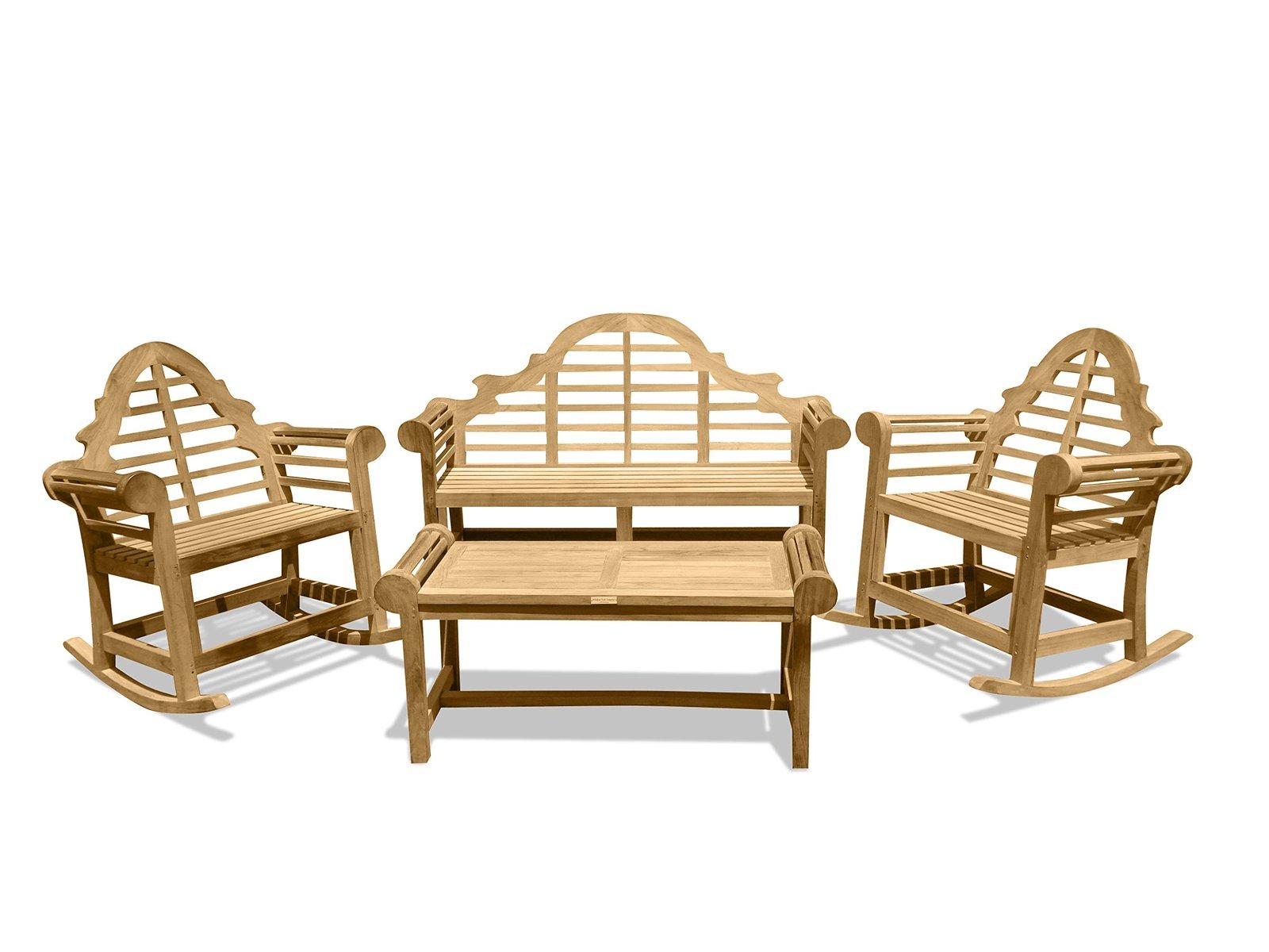 Windsor's Genuine Grade A Teak Lutyens 3 Seater Bench, 2 Single Rockers, & Table - $2,595.00