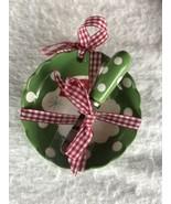 New Hallmark Christmas Bowl Spreader Green Polka Dots Santa Gingham Ribb... - $4.90