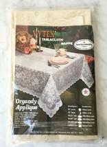 Vintage New Old Stock Vytex Tablecloth-Organdy Applique Lace Look Vinyl ... - $28.45