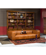 "100"" Sofa Restoration Style Columbia Brown Channel Quilting Look Leather... - $3,955.05"