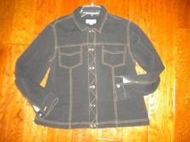Coldwater Creek Denim Petite PL Stretch Black Button Women Jean Jacket - $29.70