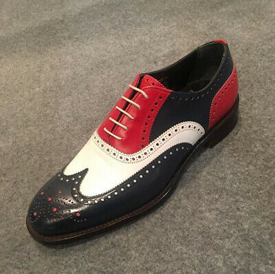 Handmade Men's White, Black And Red Three Tone Wing Tip Brogues Dress/Formal