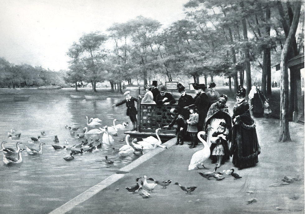 Primary image for PARIS Scene in Bois de Bouloghe Basin People Feed Swans - Victorian Era Print