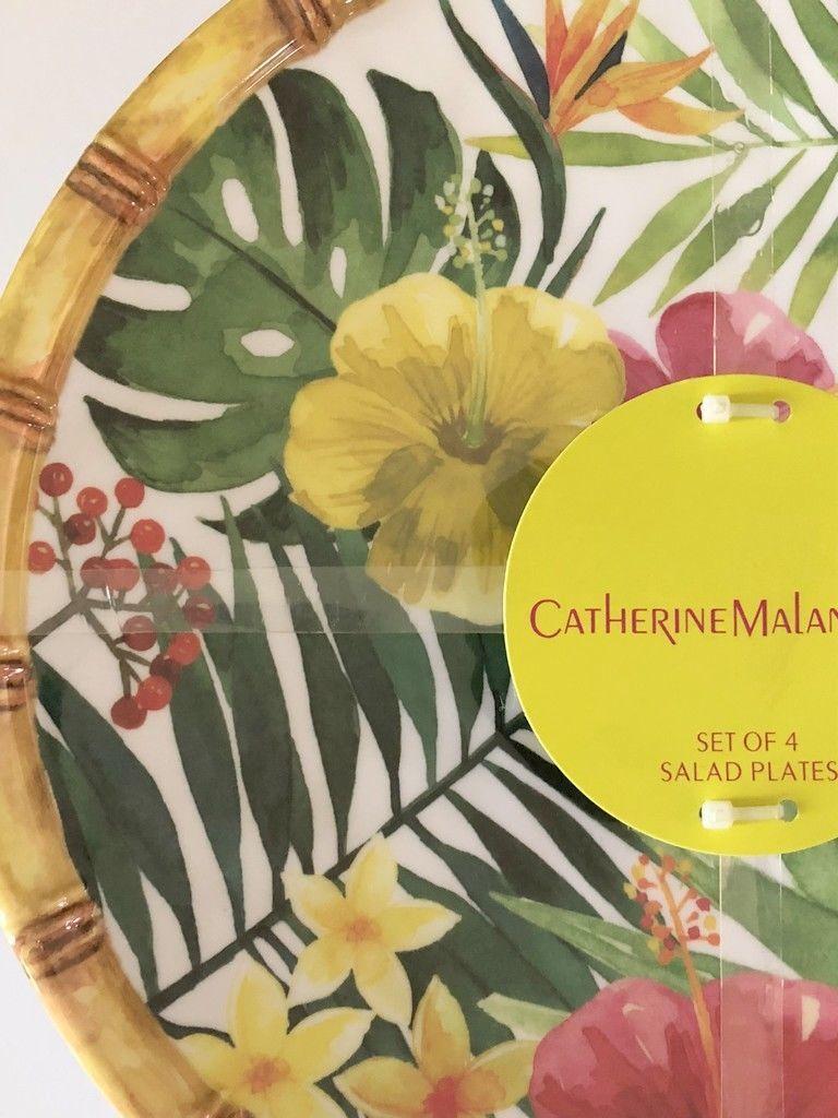 "Tropical Palm Leaf Hibiscus Melamine Plates 9"" Dessert Salad Lunch set of 4"