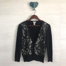 Cache Large Silk Wool Blend Black Lace Panel V Neck Button Up Cardigan S... - $22.77 CAD