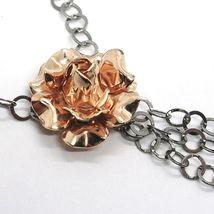 Collar Plata 925 Negro y Rosa, Cadena Rolo, Flor Rosa , Esferas Colgantes image 4