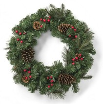 """24"""" Pre-lit Battery Operated LED Red Berry Pinecones Artificial Christmas Wreath image 2"""