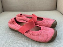 KEEN Harvest Mary Jane Pink Coral Fabric Elastic Strap Slip On Flats US 7 - $18.49
