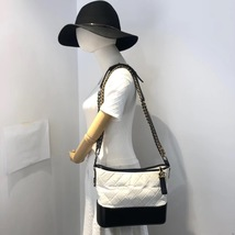 NEW AUTHENTIC CHANEL White Black Quilted Calfskin Medium Gabrielle Hobo Bag  image 6