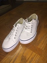 SPERRY Top Sider Mens Canvas Lace up Shoes White Size 8 D athletic NEW - $59.39