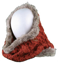 Bench Urbanwear Hasta Red Acrylic Scarf Gray Faux Fur Trim Neck Gaiter Warmer