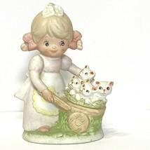 Homco 1402 Figurine Little Girl with Wheelbarrow of White Kittens - $7.25
