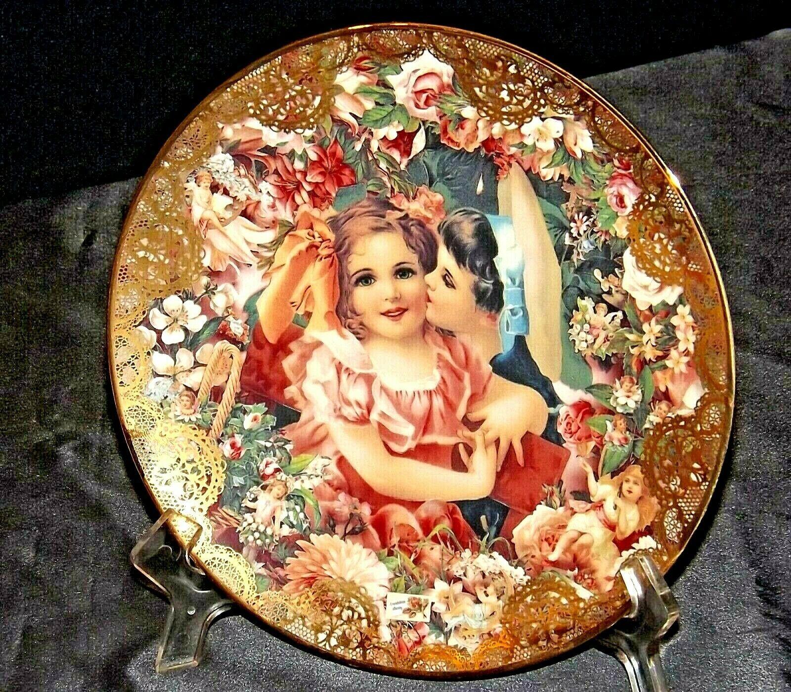 """1992 """"Dearest Kiss"""" Commemorative Plate by John Grossman AA20-CP2311 Vintage Rom"""