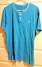 AMERICAN EAGLE OUTFITTERS ladies size L short sleeve shirt Blue 2 Button... - $9.89