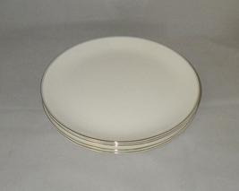 Wedgwood Doric English Bone China Dinner Plates White with Platinum Trim (5) - $65.00
