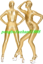 Unisex Outfit Gold Shiny Metallic Suit Catsuit Costumes Fancy Dress Suit... - $32.99