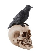 Perched Raven On Skull Poe Raven Figurine Halloween Home Decor Gift - $13.85