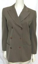 CALVIN KLEIN COLLECTION Brown Striped Blazer Jacket ITALY Women 6 S Wool... - $39.55