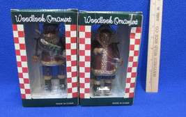 Jointed Christmas Ornaments Woodlook Santa & Eskimo Angel In Red NOS Set... - $14.10