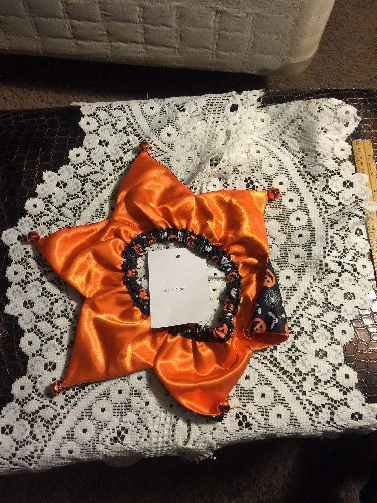 Dog Scrunchie Size M/L Black With Orange Bats White Skull And Crossbones