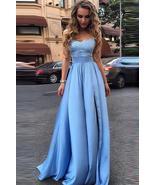Elegant Sky Blue Prom Dresses Lace Side Slit A-line Evening Gowns - $149.00