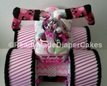 Pink and Black Disney Minnie Mouse Themed Baby Shower Four Wheeler Diaper Cake - £34.47 GBP
