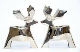 Vintage Pair of Silver Deer Reindeer Candle Holder Chrome  - $21.78