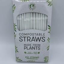 New Evriholder Compostable White Straws Eco Friendly BPA Free 100 Straws - $7.92