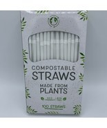 New Evriholder Compostable White Straws Eco Friendly BPA Free 100 Straws - $7.92