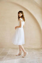 White Floor Length Tulle Skirt with Train White Bridal Tutu Skirt Wedding Outfit image 6