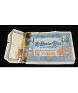 Germany Deutschland Banknote 100 Sin Bundert Mark 1910 Reichsbanknote Mo... - $10.00