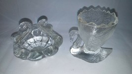 Vintage Miniature Glass Swan Handle Basket & Crackled Glass Toothpick Ho... - $23.36