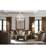 ARIEL Traditional Living Room Wood Trim Brown Silk Fabric Sofa Couch & C... - $5,599.17