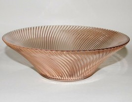 """Federal Glass Diana Pink Depression Glass Large Bowl 11"""" Ribbed Swirl Vintage  - $54.45"""