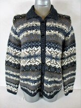 Croft & Barrow Womens Medium L/S Blue Gray Button Down Cardigan Sweater (A3) - $13.19