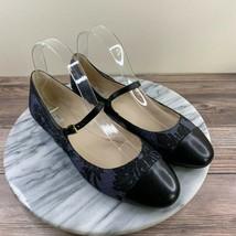 Cole Haan Phoenix Blue Black Floral Cap Toe Mary Jane Flats Womens Size 7.5 - $39.95
