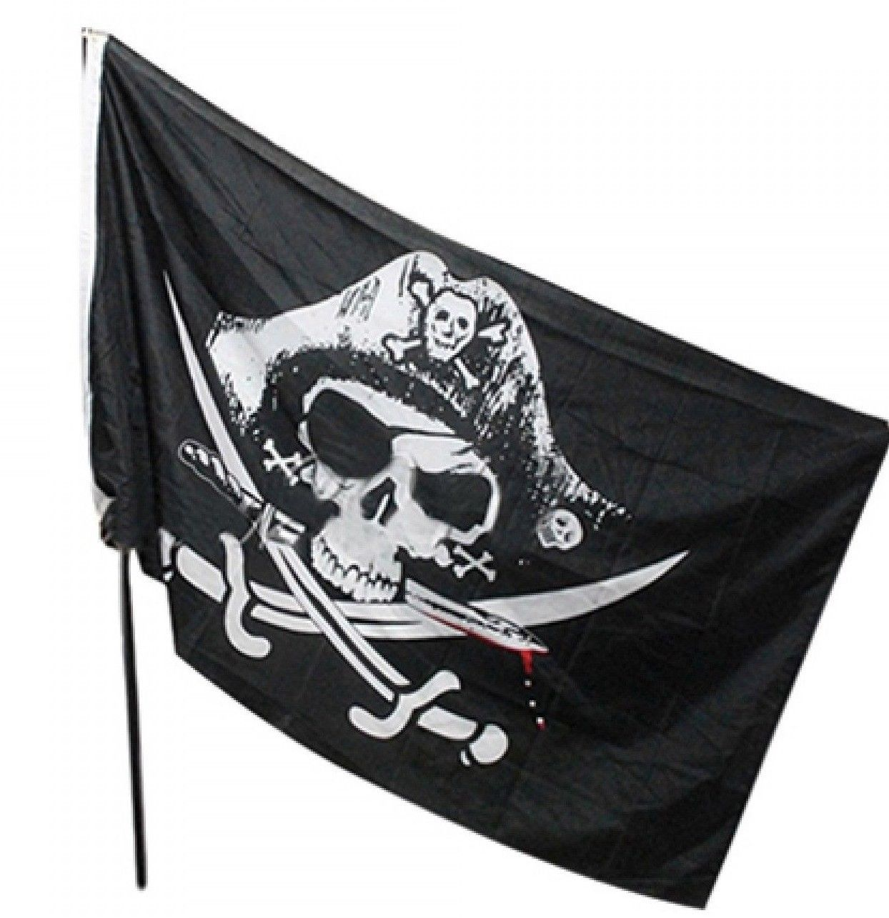 Pirate Flag Black Skull Crossbones Knives Scary Party Supplies Halloween Decor