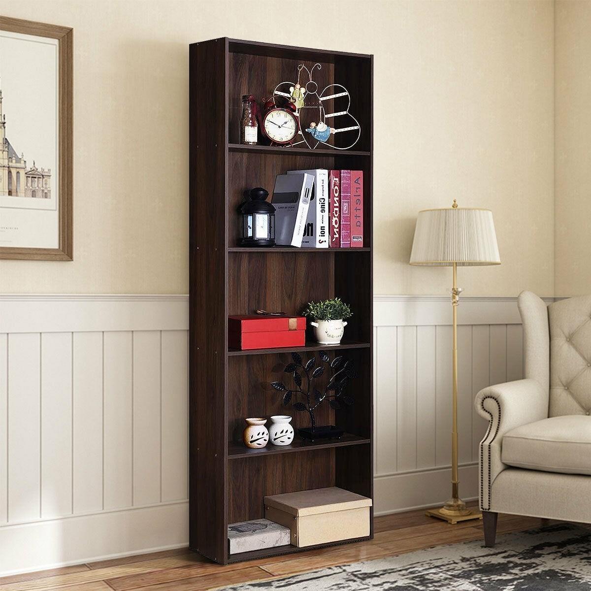 College Dorm 5-Shelf Storage Bookcase With Walnut Finish