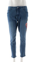 Women with Control My Wonder Denim Petite Novelty Jeans Mid Blue 12P NEW... - $42.55