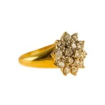 18k Gold Diamond Cluster Ring 1ct Diamonds UK Size M BHS - $1,540.79