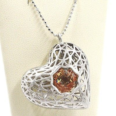 SILVER 925 NECKLACE, HEART CONVEX, SATIN, PERFORATED PENDANT, CHAIN BALLS