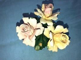 Capodimonte3 Yellow & Pink Porcelain Roses Nuovo Capodimonte Italy - $27.99